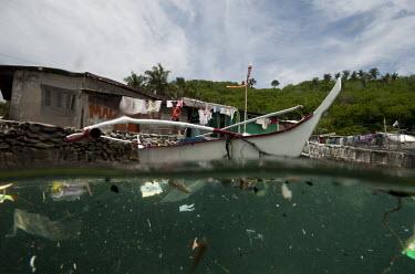 Village pollution, trash, plastics in the Philippines