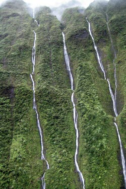 Kaua'i from the air Waterfall,wilderness,water