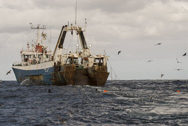 Large scale pelagic trawler towing tori-lines to scare seabirds Horizontal,Outdoors,Pelagic,Purse-sein fishing,africa,african,color image,colour image,commercial fishing,day,image,pelagic birds,photo,photography,tori-lines