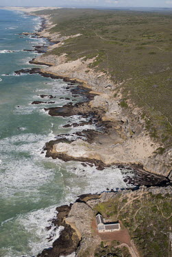 Aerial view of a section of the Whale Trail with Vaalkrans hut in the frame Coastline,De Hoop Nature Reserve & Marine Protected Area,Outdoors,Scenary,South Africa,Western Cape,africa,african,color image,colour image,day,image,isolated,landscapes,photo,photography,rocky coastl