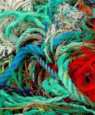Marine litter washed up on beach trash,litter,coastline,beach litter,plastic waste,marine litter,plastic litter,rope,colour,colourful,pollution,conservation issue,threat,twine
