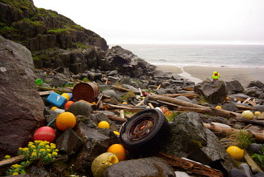 Marine litter on shoreline trash,litter,beaches,plastics,coastlines,marine debris,plastic waste,marine litter,plastic litter,conservation action,drum,wheel,beach,strandline,driftwood