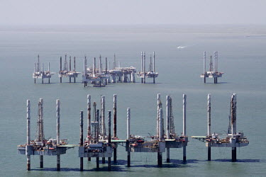 Deep water drilling rigs oil platforms,disused,offshore,salvage,structures,drilling,rigs,coast,aerial