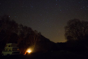 Starry camp sky,night,night time,space,astronomy,stars,star,camp,camping,camper van,glow,out in nature,countryside,UK countryside,British countryside,woodland,forest,long exposure,CCC