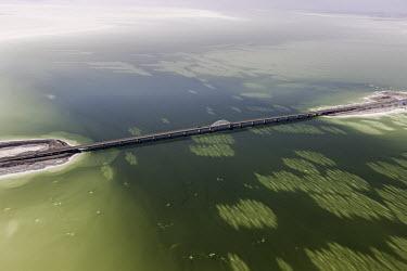 Urmia Lake, West Azerbaijan, Iran Lake,lakes,habitat,landscapes,landscape,humans,bridge,manmade,modified,water,sandbank
