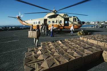 Rescued African penguins in boxes being unloaded from a helicopter Africa,Conservation,issue,issues,conservation issues,conservation issue,threat,threatened,Jackass penguin,black-footed penguin,African penguin,penguin,penguins,bird,birds,pollution,environmental,disas