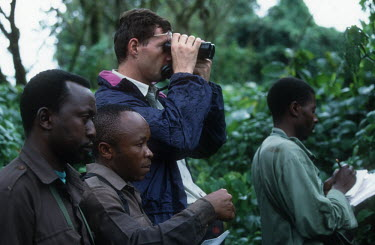 Mountain gorilla monitoring project Africa,conservation,conservation action,research,researcher,forest,rainforest,National Park,protected area,study,habitat,monitor,monitoring,watch,watching,observe,observing,binoculars,notes,Chordates,