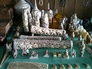 Ivory objects on sale Ivory,poaching,poached,illegal wildlife trade,shop,ornaments,ornament,Elephants,Elephantidae,Chordates,Chordata,Elephants, Mammoths, Mastodons,Proboscidea,Mammalia,Mammals,Appendix I,Africa,Appendix I