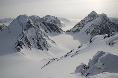 Svarlbard mountains Svalbard,Arctic,mountains,snow,light,lit,sun,shadows,soft,high
