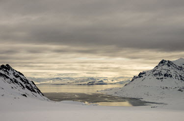 Svalbard landscape Svalbard,Arctic,landscape,snow,grey,snowscape,mountains,valley,clouds,sea