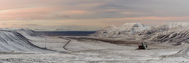 Svalbard landscape Svalbard,Arctic,landscape,road,low light,mountains,snow,valley,sunset,Longyearbyen,Autumn,panorama,panoramic,Snow