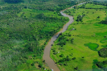 Aerial view of the Amazon rainforest and river, near Manaus Brazil,latin america,horizontal,forest,river,amazon,aerial,spanish,forests,climate change,global warming,rainforests,deforestation,green,degraded,cleared,clearing,brazil