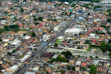 Aerial view of Manaus road,city,brazil,latin america,horizontal,amazon,aerial,spanish,climate change,global warming,urban areas,urban,diagonal,traffic,colour,colourful