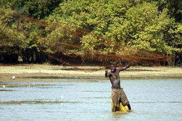 Fisherman casting his net. Gorom, Cameroon africa,people,man,water,horizontal,river,fishing,nets,forests,cameroon,gorom,livelihoods,river fishing,deforestation,subsistence hunting,hunting,fish