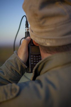 A researcher using radio telemetry equipment to track African wild dogs savannah,savanna,Africa,conservation,monitoring,tracks,tracking,radio tracking,warden,human,African wild dog,Lycaon pictus,Carnivores,Carnivora,Mammalia,Mammals,Chordates,Chordata,Dog, Coyote, Wolf, F