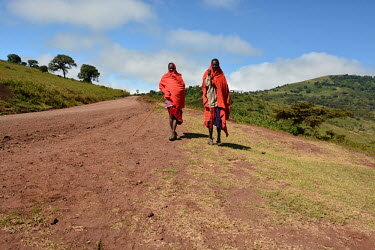 Two cattle herders walking along a path, Africa Human,Homo sapiens
