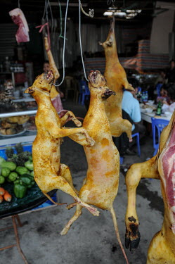Bushmeat and dog hanging for sale in a Vietnamese market