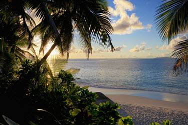 Sunset over beach - Fregate Island, Seychelles