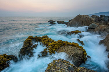 Tide lapping against a rocky shore line at sunset saltwater,Marine,saline,shoreline,Shore,sea shore,shoreland,sea side,Rocky shore,Sky,tides,inter-tidal,tidal,Tidal pool,waves,surf,Wave,Ocean,oceans,oceanic,Coastal lagoon,lagoon,environment,ecosystem