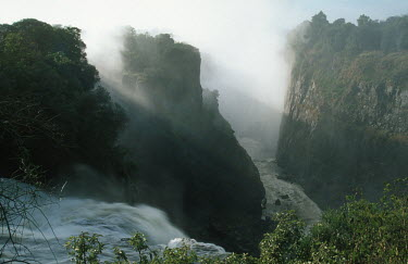 Devil's cataract, Victoria Falls - Zimbabwe Waterfall,Spectacular,Light,Mist,Spray,Landscape,Formation,Geological,Water,River,Cliff