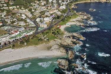 Aerial view of white sand beaches around the Cape Peninsula - Western Cape Province, South Africa Aerial,Beach,Coast,Rocky shore,Sand,Coastal road,Turquoise,Blue,Waves