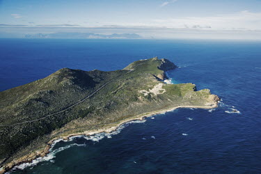 Aerial view of the Cape Point Nature Reserve stretching out into the Atlantic Ocean - Western Cape Province, South Africa Aerial,Landscape,Land management,Cliff,Coast,Sea,Ocean,Cape Point,Nature Reserve,View