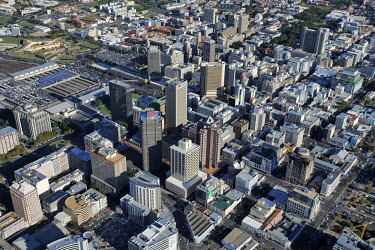 Aerial view over the high risers in Cape Town city centre - Western Cape Province, South Africa Aerial,Skyline,Landscape,City,City centre,Road,Highrise,Buildings,Block,Square,Shapes,Ordered,Patterned