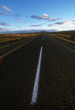Road spanning out into the semi-desert of South Africa - South Africa Landscape,Road,Nobody,Straight road,Tarmac