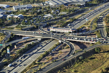 Aerial view of the New Road Bridge - Gauteng Province, South Africa Aerial,City,Road,Tarmac,Car,Traffic,Bridges,Land management,Traffic management,Highway
