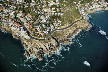 Aerial view of Bantry Bay - Western Cape Province, South Africa Aerial,Landscape,Land management,Road,Houses,Cliff,Coast,Sea,Ocean,Cape Point,View