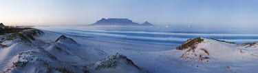 Panoramic view of Blouberg beach with Table Mountain in background - Western Cape Province, South Africa Panoramic,Coastal,Beach,Sanddunes,Sea,Ocean,Long-exposure,Blue,Morning,Table Mountain,Clear sky