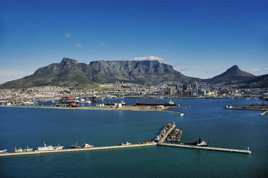 Aerial view of Table Bay working harbour with Table Mountain and Devil�s Peak in the background - Cape Town, South Africa