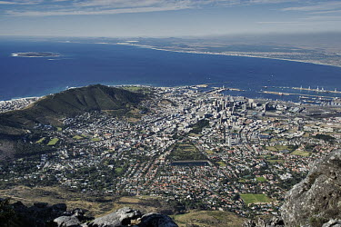 Scenic view from Table Mountain - Cape Town , South Africa Aerial,Skyline,City,High-rise,Pattern,Order,Block,Mountain,Tarmac,Road,Suburb,Towers,Harbour,Coastal,Sea,Ocean,Development