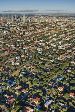 Extensive aerial view over Johannesburg city centre - Gauteng Province, South Africa Aerial,Skyline,City,High-rise,Pattern,Order,Block,Mountain,Tarmac,Road,Suburb,Towers,Tree-lined