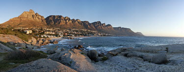 View of coastal city with mountains in background - South Africa Landscape,Bay,Ocean,Sea,Coastal,Beach,Mountains,Dramatic,Coastal city,Sunset