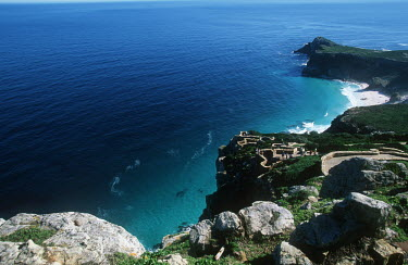 View of Atlantic Ocean from Cape Point - Cape Peninsula, South Africa Africa,African,Southern Africa,scenic,scenery,beauty in nature,natural world,nature,outdoors,mountains,landscape,green,grass,Coastal,Coast,Sea,Ocean,Viewpoint