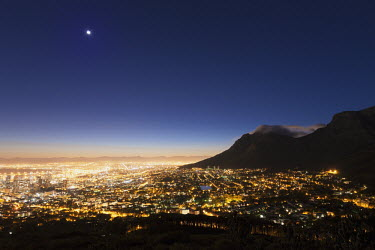 Cape Town city centre at sunrise with a view of Table Mountain - Cape Town, South Africa Morning,City lights,Sunrise,Mountains,Waking up,Moon,Sky,Early morning,Table Mountain