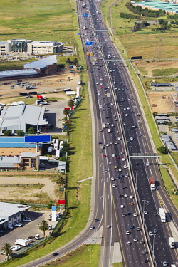 Aerial view of the N1 highway - South Africa Highway,Road,Busy,Straight road,Tarmac,Cars