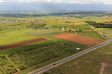 Aerial view of farmland - South Africa Landscape,Farmland,Fields,Crops,Green,Brown,Bare earth