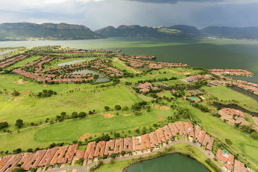 Aerial view of Golf Club and Resort with Hartebeespoort Dam in the background - South Africa Aerial,Resort,Land management,Leisure,Activities,Land conflict