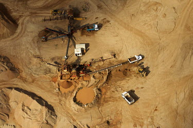 Aerial view of a quarry - Johannesburg, South Africa Aerial,Quarry,Mineral extraction,Heavy industry,Land,Brown,Environmental issues,Energy,Fuel,Minerals,Environment