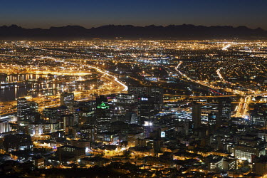 Cape Town city centre with a crescent moon - Cape Town, South Africa Landscape,Night,City lights,Moon,Sky,Crescent Moon,Dark,City centre,city