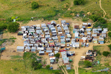 Aerial view of an informal settlement - South Africa Aerial,Informal settlement,Improvisation,Roofs,Rooftops,Colourful,Environment,Outside