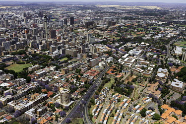 Aerial view of central Johannesburg - South Africa Aerial,Landscape,City,Road,Buildings,Houses,Neighbourhood,Trees,Rooftops,Settlement,Tree-lined,Colourful,Purple,Colour,City centre,Skyline,Highway,Main road