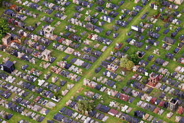 Aerial view of a graveyard and tombstones - Johannesburg, South Africa Aerial,Gravestones,Landscape,Remembrance,Rows,Order,Stones