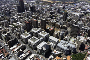 Aerial view of central Johannesburg - South Africa Aerial,Skyline,Landscape,City,City centre,Road,Highrise,Buildings,Block,Square,Shapes,Ordered