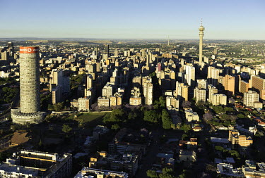 The Ponte Tower on the Johannesburg skyline - Johannesburg, South Africa Aerial,Skyline,Landscape,City,City centre,Road,Clear sky,Blue sky,Highrise,Buildings