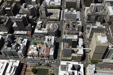 Aerial view of central Johannesburg - South Africa Aerial,Skyline,Landscape,City,City centre,Road,Highrise,Buildings,Block,Square,Shapes,Ordered,Patterned