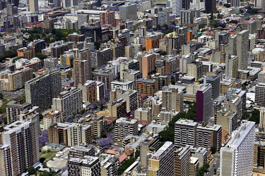 Aerial view of colourful skyscrapers - South Africa Aerial,Skyline,Landscape,City,City centre,Road,Clear sky,Blue sky,Highrise,Buildings,Colourful,Pattern,Order,Block