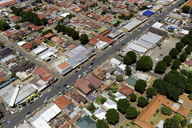 Aerial view of central Johannesburg - South Africa Aerial,Skyline,Landscape,City,City centre,Road,Buildings,Block,Square,Shapes,Ordered,Patterned,Cars,Roof